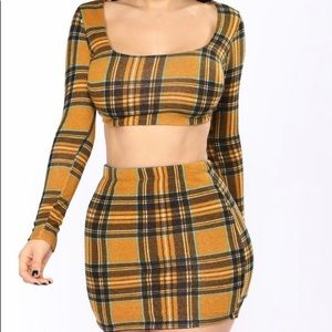 Fashion nova mustard attendance skirt matching set